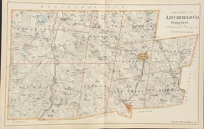 Antique Map North Part of Litchfield County Connecticut Hurd 1893