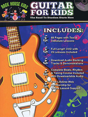 Guitar for Kids Beginner Lessons Learn How to Play Rock House Tab Book DVD NEW