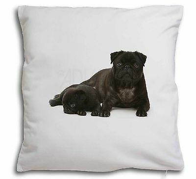 Pug Dog and Puppy Soft Velvet Feel Cushion Cover With Inner Pillow, AD-P91-CPW