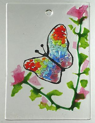 "BUTTERFLY WINDOW, Wall Hanging, Fused Stained Glass 2.5 x 3.5""  ACEO Sun Catcher"