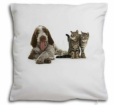 Italian Spinone Dog and Kittens Soft Velvet Feel Cushion Cover With , AD-SP1-CPW