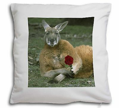 Kangaroo with Red Rose Soft Velvet Feel Cushion Cover With Inner Pill, AK-1R-CPW
