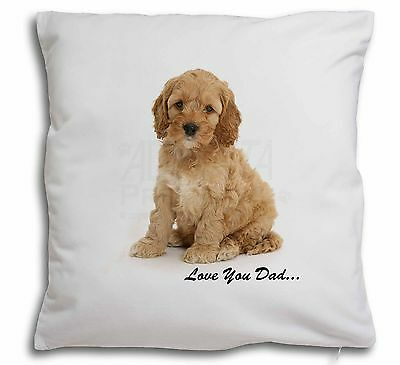 Cockerpoodle 'Love You Dad' Soft Velvet Feel Scatter Cushion Christm, DAD-19-CPW