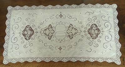 Antique Point de Venice Lace Embroidered Table Runner Floral Vases Openwork