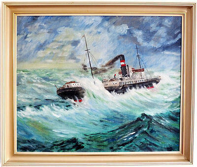 Steamer in furious Waves, Middle 20th Century
