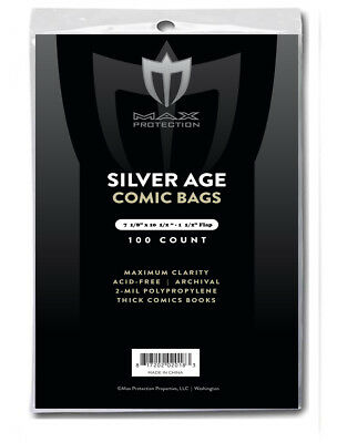 1200 Max Pro Silver Age 7-1/8 X 10-1/2 Comic Book Storage Bags Sleeves Archival