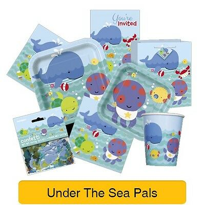 UNDER THE SEA PALS - Baby Shower PARTY RANGE (Decorations & Tableware)