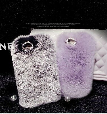 Deluxe Winter Warm Fluffy Rabbit Fur Crystal Bling Case Cover for iPhone Samsung