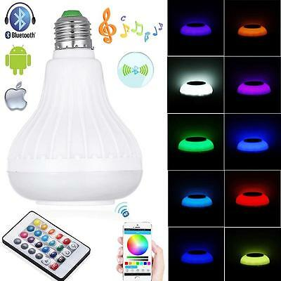 E27 Bluetooth Control Smart Music Audio Speaker LED RGB Color Bulb Light Lamp