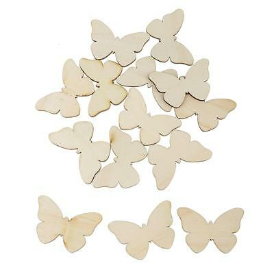 10x Wooden MDF Rabbits Butterfly Shapes Embellishments DIY Crafts Scrapbooking