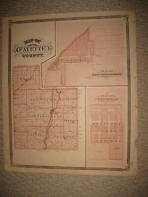 Fine Antique 1876 Fayette County East Connersville Fayetteville Indiana Map Peru