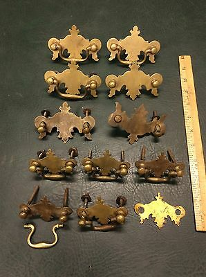 Lot of 12 Solid Brass Reproduction Chippendale Drawer Pulls Handles ~ As Is