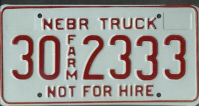 "NEBRASKA license plate ""30 2333"" ***MINT***FARM***"