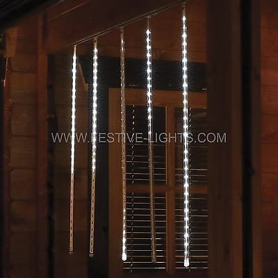 Set Of 5 4M Mains Outdoor Window Christmas Snowfall 70Cm Icicle Led Fairy Lights