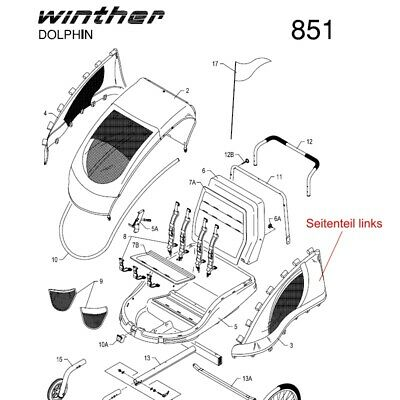 Orginal WINTHER Dolphin II,  Seitenteil links mit Plastikhaken, NEU !