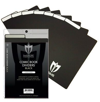 Pack of 25 Max Pro Black Plastic Comic Book Dividers with Folding Write On Tab