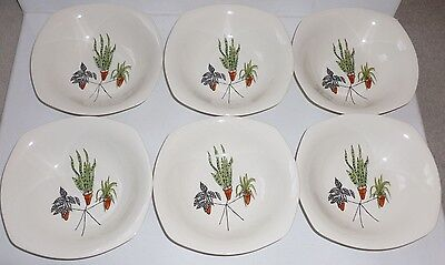6 x Midwinter Pottery dessert bowls Plant Life  TERENCE CONRAN
