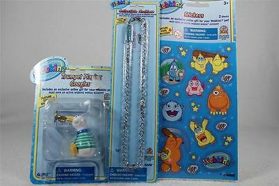 Webkinz Set of 3 'Trumpet Playing Googles Figurine+Necklace+Stickers' All NEW!