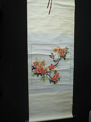 Chinese Flowers & Bird Ink & Watercolour Painting on Rice Paper Silk Scroll