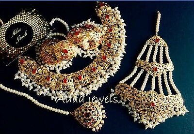 Indian jewellery set, gold Finish  earrings necklace Tika Jhumar Ruby Pearls