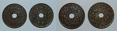 2 X Netherlands East Indies 1 Cent 1936 & 1942
