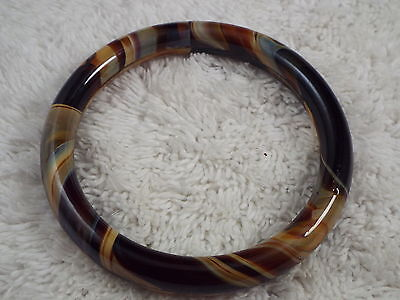 Brown Caramel Cream Glass Bangle Bracelet (D60)
