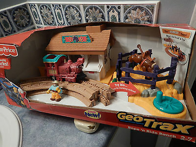 New Fisher-Price Geotrax Rope'n Ride Ranch Train Set w/ Tex & Rex Action Figures