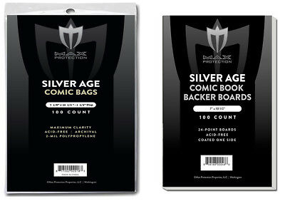 100 Max Pro Silver Age Comic Book Archival 2-mil Bags + Acid Free Backer Boards
