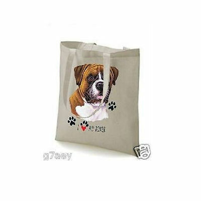 I Love My Boxer Design Printed On A Tote Shopping Bag