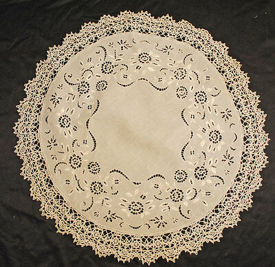 "Lovely Victorian  Doily Centerpiece Raised Floral Embroidery 30"" Round"
