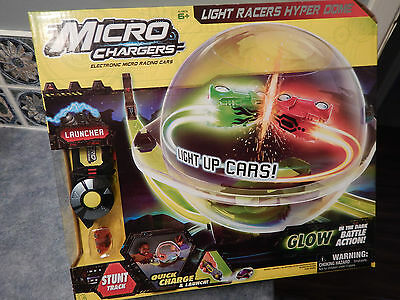 New Micro Chargers Light Racers HYPER DOME & 1 Electronic Race Car: Glow in Dark