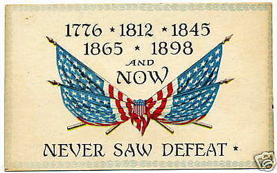 Beautiful 1907-14 Flag Post Card Never Say Defeat