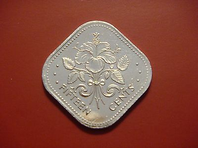 Bahamas 15 Cents, 2005, Square Coin Hibiscus UNC