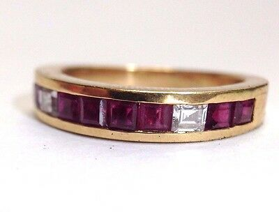 Natural Ruby and Diamond 18K Yellow Gold Ring Band Size 6.5