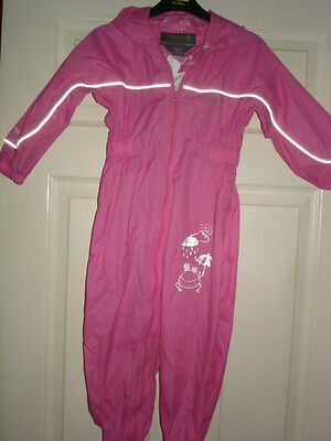 Regatta Girls Pink All In One Puddle Rain Proof Suit 2/3Yrs