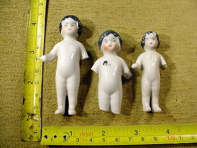 3 x excavated vintage victorian painted frozen charlotte doll age 1860 Art 1425