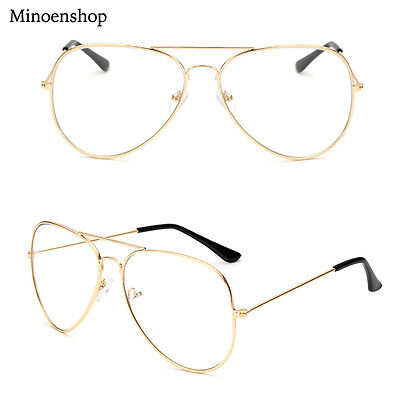Gold Geek Nerd Clear Lens Aviator Glasses Fashion Sunglasses Men's Ladies
