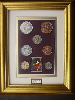 FRAMED 1967 COIN SET 50th BIRTHDAY GIFT IN 2017
