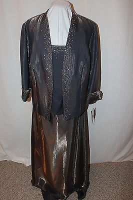 NWT Size 18W Bronze long formal beaded gown with matching 3/4 sleeve jacket