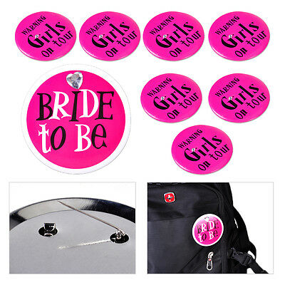 8x Bride to Be Girls On Tour Badges Pin Bachelorette Bridal Shower Party Favors