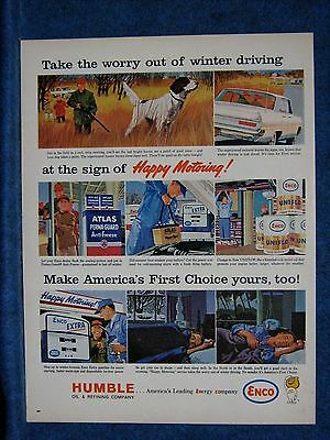 1963 Humble Oil  Enco Ad ~Winter Hunting w/Dog   - 60s Type Serv Station Shown