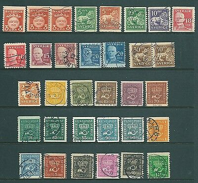 Vintage stamps from SWEDEN - 1920 collection including Coils & Shades