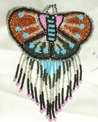 Barrette Beaded Butterfly w Fringe  French clip closure Hair accessory #14