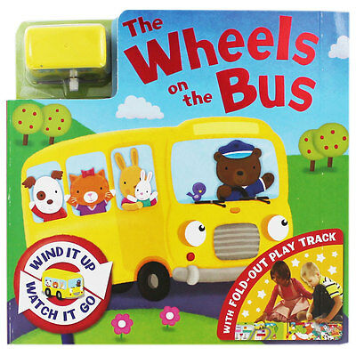 Wheels On The Bus - Wind Up Busy Board Book, Toy & Fold Up Track - Kids Activity