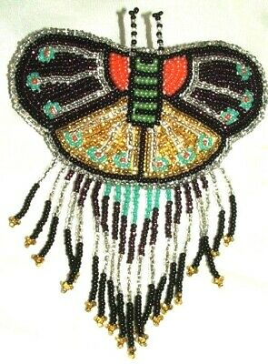 Barrette Beaded Butterfly w Fringe  French clip closure Hair accessory #21