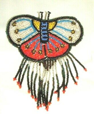 Barrette Beaded Butterfly w Fringe  French clip closure Hair accessory #23