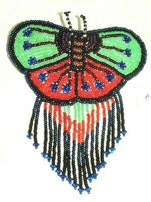Barrette Beaded Butterfly w Fringe  French clip closure Hair accessory #25