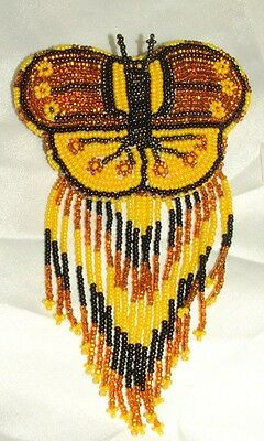 Barrette Beaded Butterfly w Fringe  French clip closure Hair accessory #26