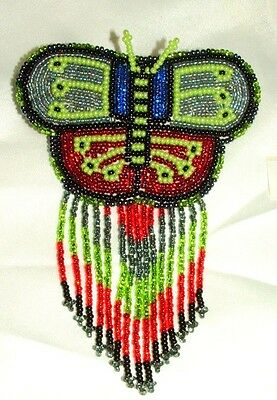 Barrette Beaded Butterfly w Fringe  French clip closure Hair accessory #27