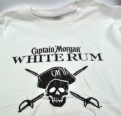 Captain Morgan White Rum USA T-shirt weiß Piraten Totenkopf Skull Größe M od. XL